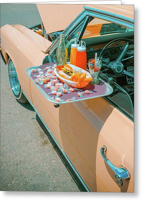 Vintage Auto and Window Tray - Greeting Card