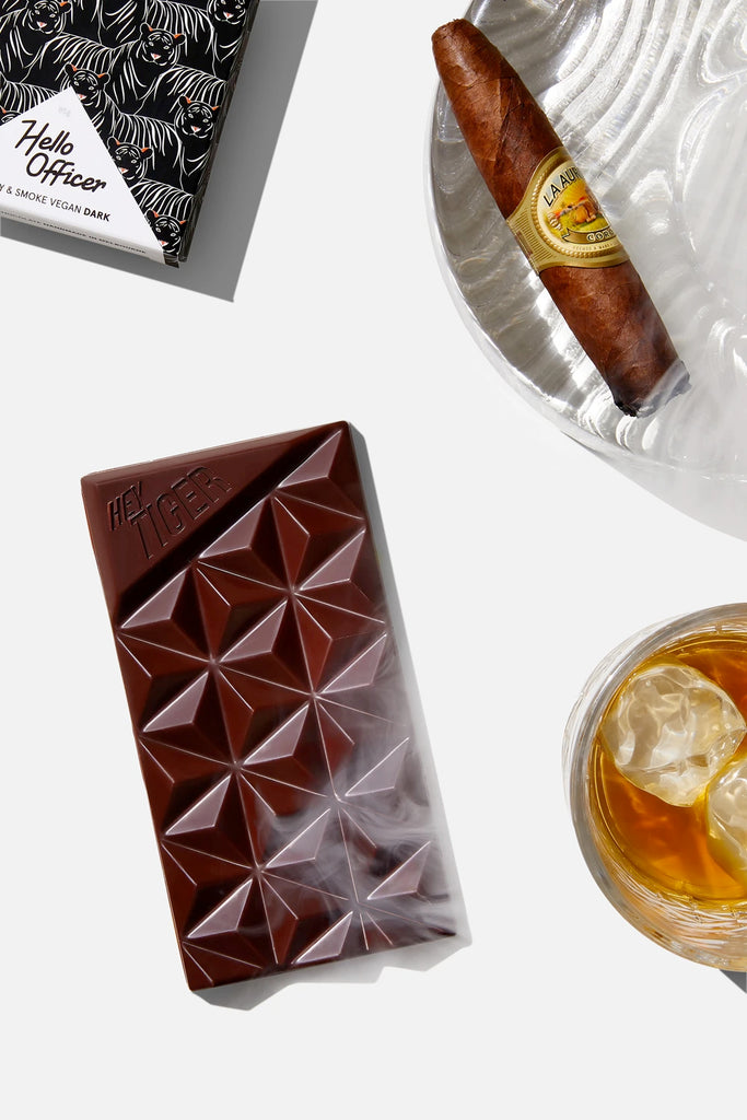 Hello Officer Whiskey & Smoke flavoured dark chocolate from Hey Tiger