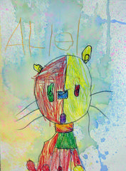 child's artwork of a cat done in Paul Klee's colorful style