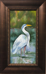 A painting of a standing egret by artist Patty Jackson