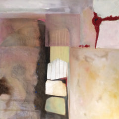 """An abstract painting in pale earth tones, titled """"Stacked Against Us"""", by artist Janly Jaggard"""