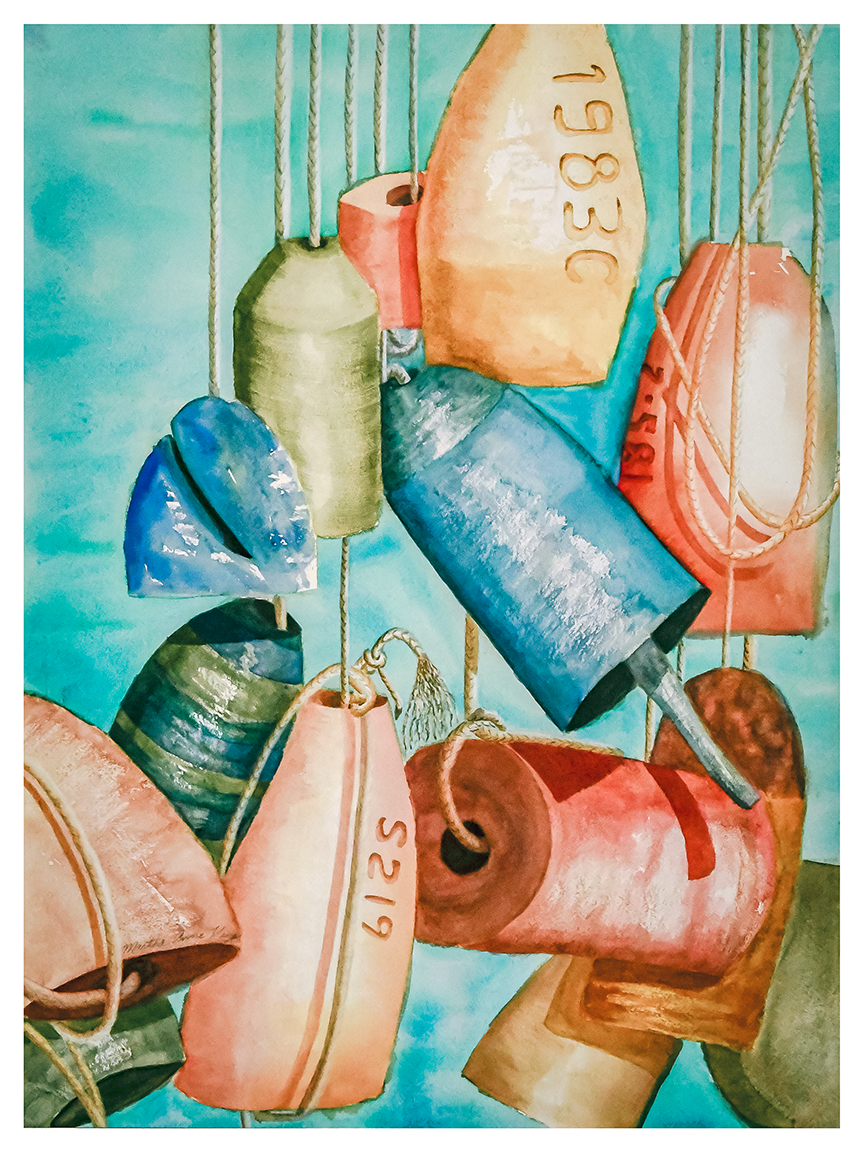painting of colorful crab pot floats against a turquoise background