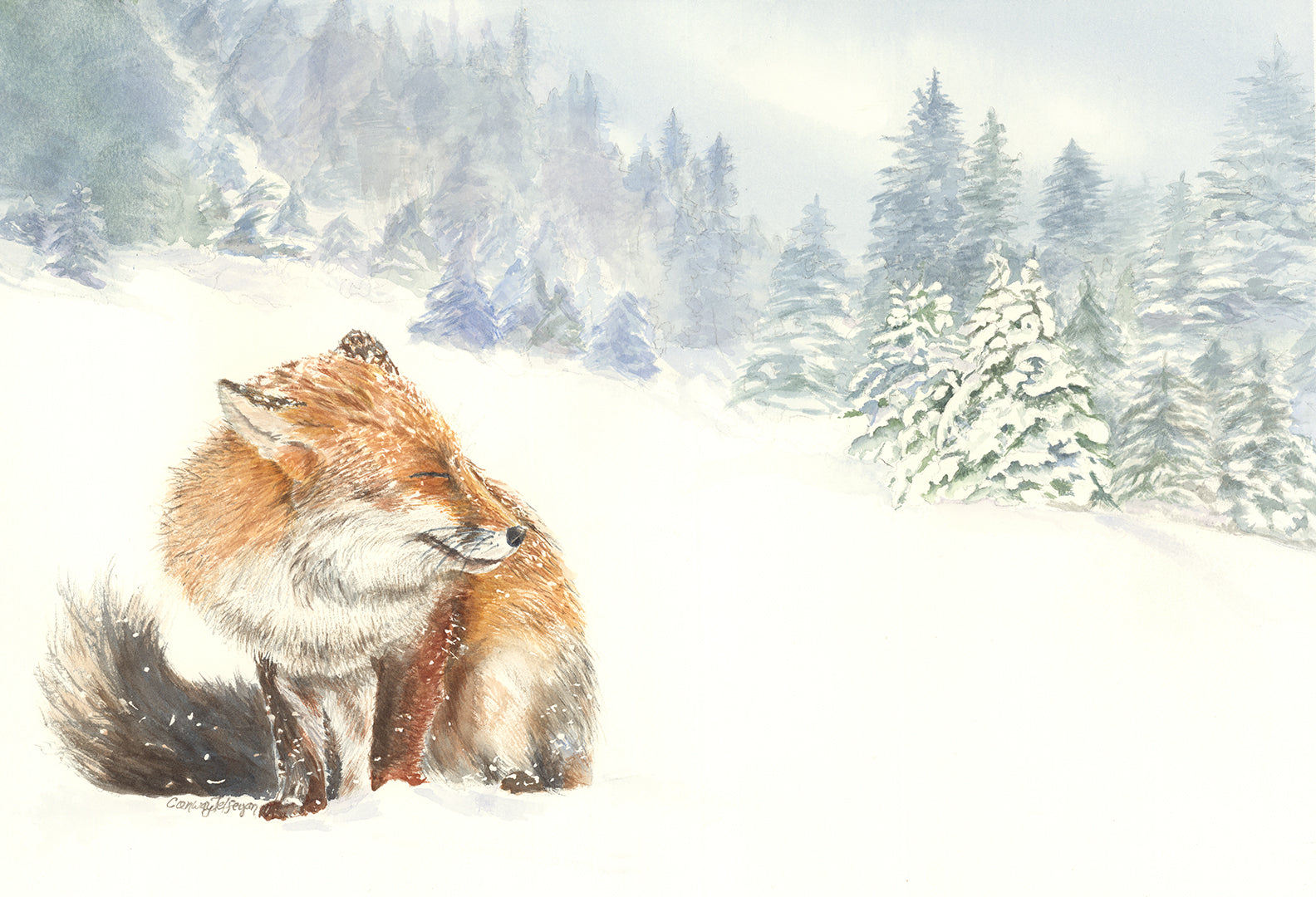 a painting of a fox in a snowy field at the edge of the woods