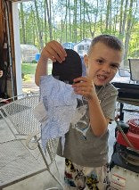 A boy and his create-a-craft kit project