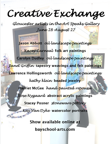 an image of the creative exchange artist booklet cover, featuring a picture of the art speaks gallery and a list of the gloucester artists