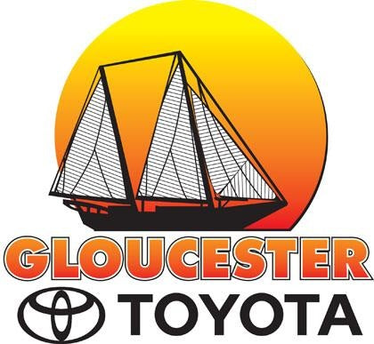 Logo for Gloucester Toyota, featuring a sailboat in front of a sun
