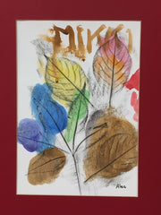a watercolor leaf picture made by a participant at the Brambles Adult Day Center