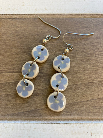 Julia Dorsey-Blue Flower Dangle Earrings