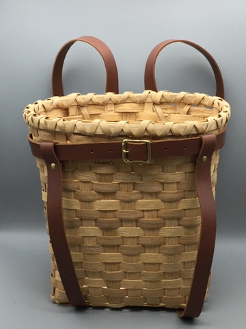 Davida Hall - Fancy Oak and Leather Backpack Basket