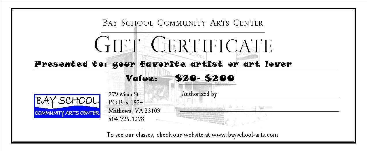bay school gift certificates bay school community arts center