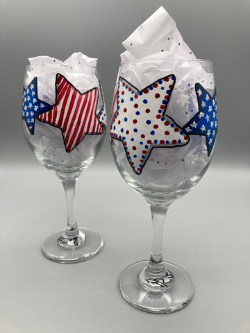 Jennifer Schroeder- Hand Painted Patriotic Stars Wine Glass