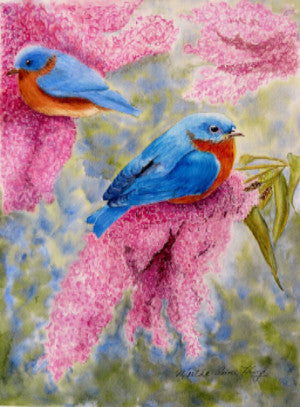 Bluebirds and Butterfly Bushes Notecard