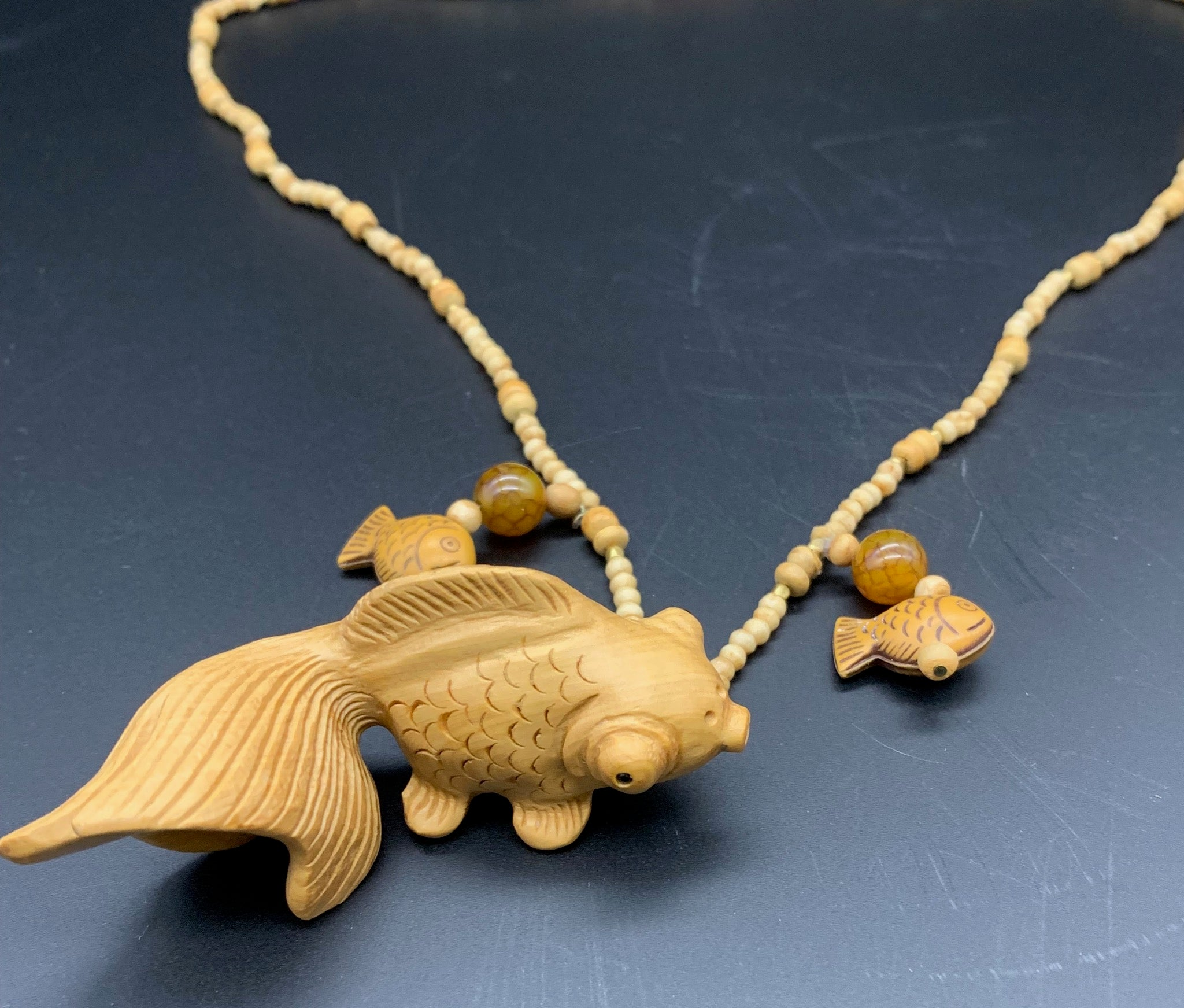 Liz Wallace - Koi Netsuke Boxwood Necklace
