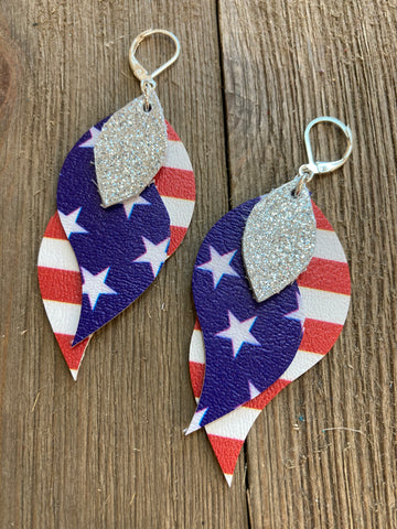 Lesley Atkinson - Patriotic Faux Leather Earrings