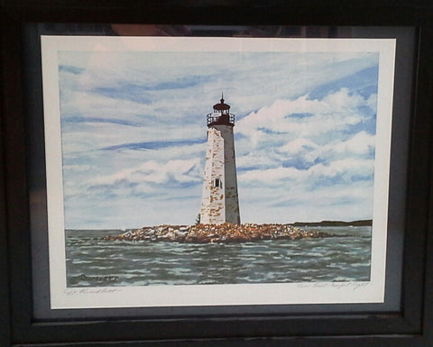 Dennis Rundlett-New Point Comfort Light framed Print
