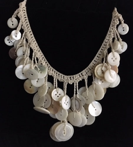 Pat Whitlow-  Vintage Mother of Pearl Button Necklace