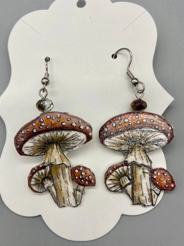 Jennifer Schroeder- Watercolor Mushroom Earrings