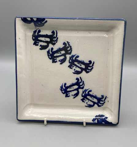 Karen Podd - Small Square Plate with Crabs