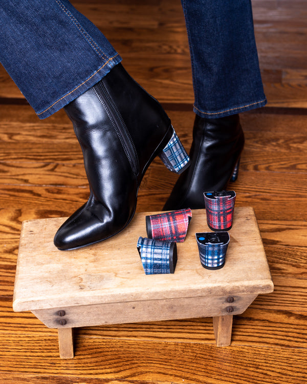 Yasifina Black Ankle Boot Removeable Tartan Heel