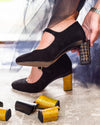 Tiggy Black Suede Maryjane Removeable Heel Black Glitter Gold