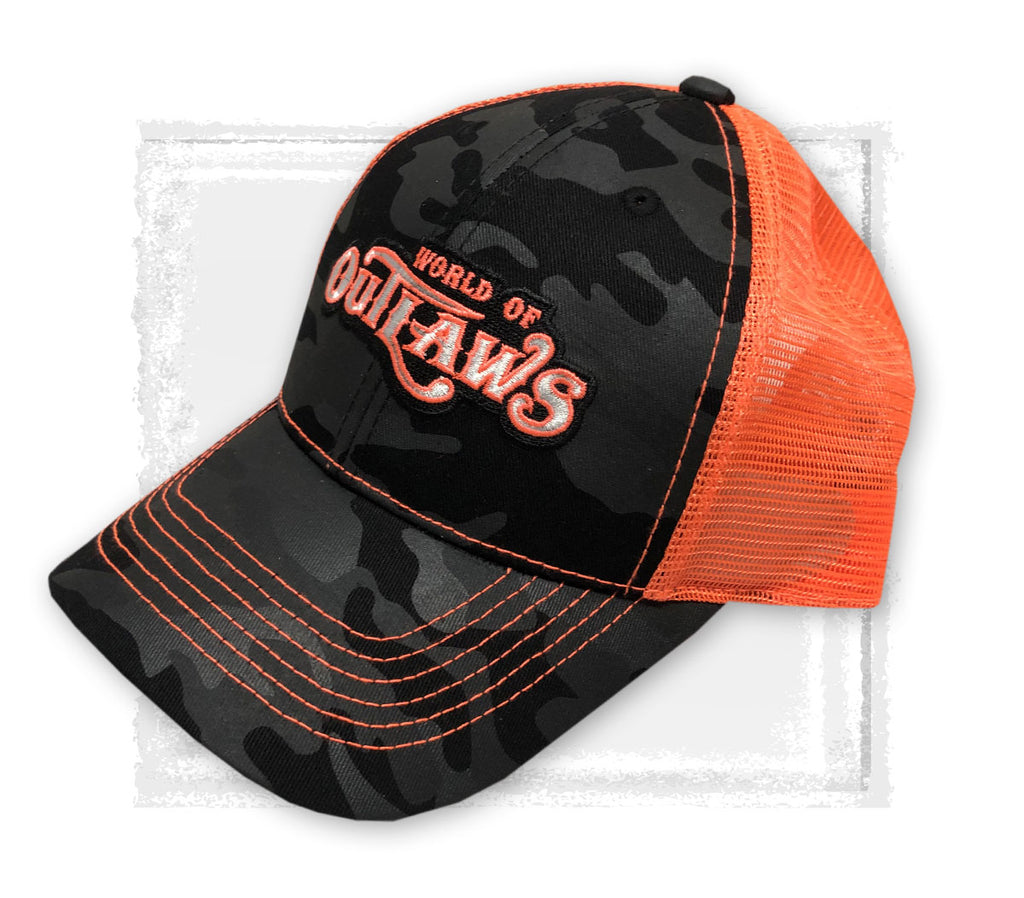Black Camo/Neon Orange Snapback Hat