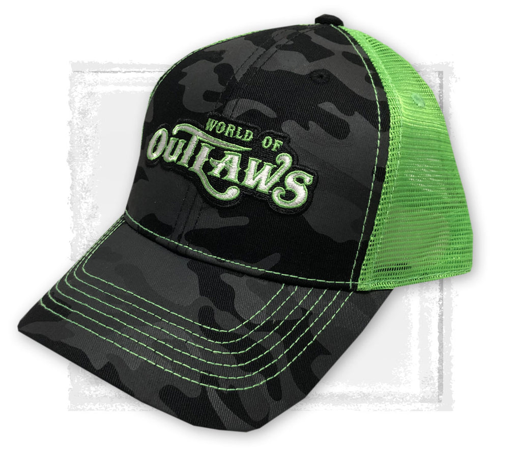 Black Camo/Neon Green Snapback Hat
