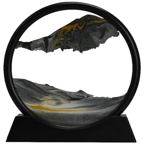 Moving Sand Art Picture Round Glass 3D Deep Sea Sandscape in Motion Display Flowing Sand Frame(12inch)