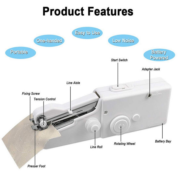 New Portable Sewing Machine Mini Handheld Sewing Machine Cordless Electric Stitch Household Tool for Fabric Clothes