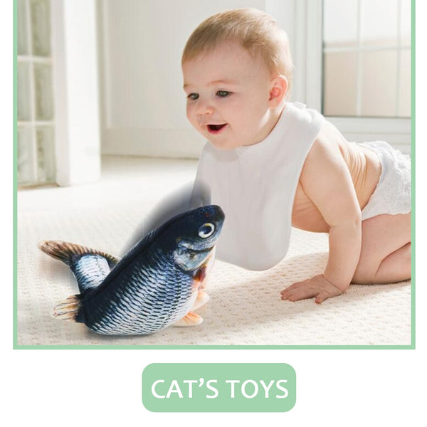 cat electric fish toy pet 3D Simulation fish Soft Plush shaking fish toy Stuffed interactive dancing fish Playing Soft Cat Toy