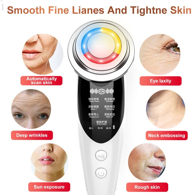 7in1RF&EMS Radio Mesotherapy Electroporation rf lifting Beauty LED Photon Face Skin Rejuvenation Remover Wrinkle Radio Frequency