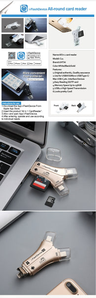 FOR APPLE Lightning Card Reader SD TF USB C to MicroUSB Multi Card readers 4in1 Type-C Flash Drive For Iphone 7 8 11 12 X XR MAX
