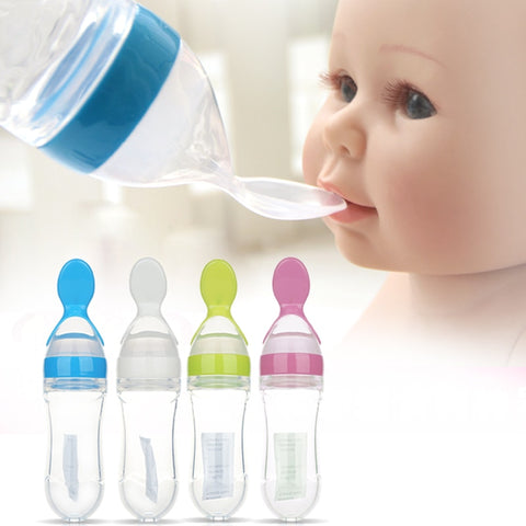 Infant Baby Silica Gel Feeding Bottle With Spoon Newborn Toddler Food Supplement Rice Cereal Bottles Milk Feeder BPA Free 90ml