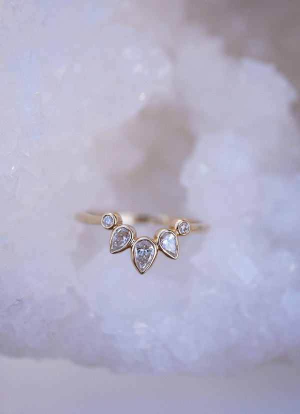 Pear Fan Ring - Emily Warden Designs Site