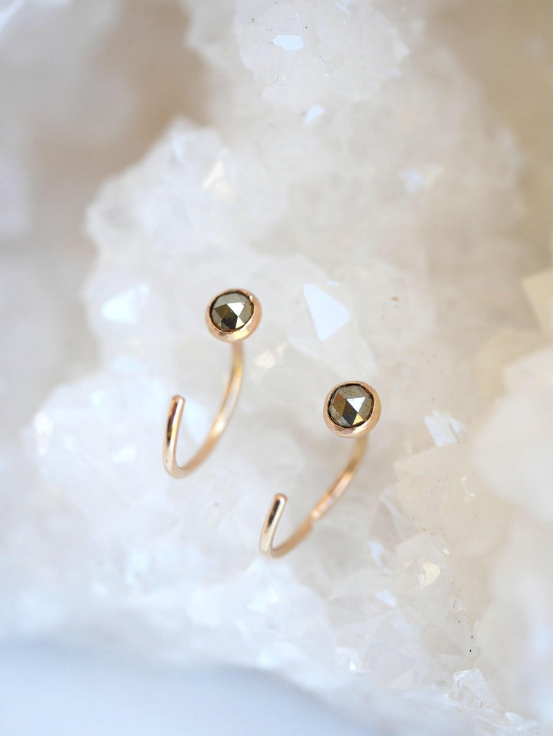 Pyrite Hugger Hoops - Emily Warden Designs Site