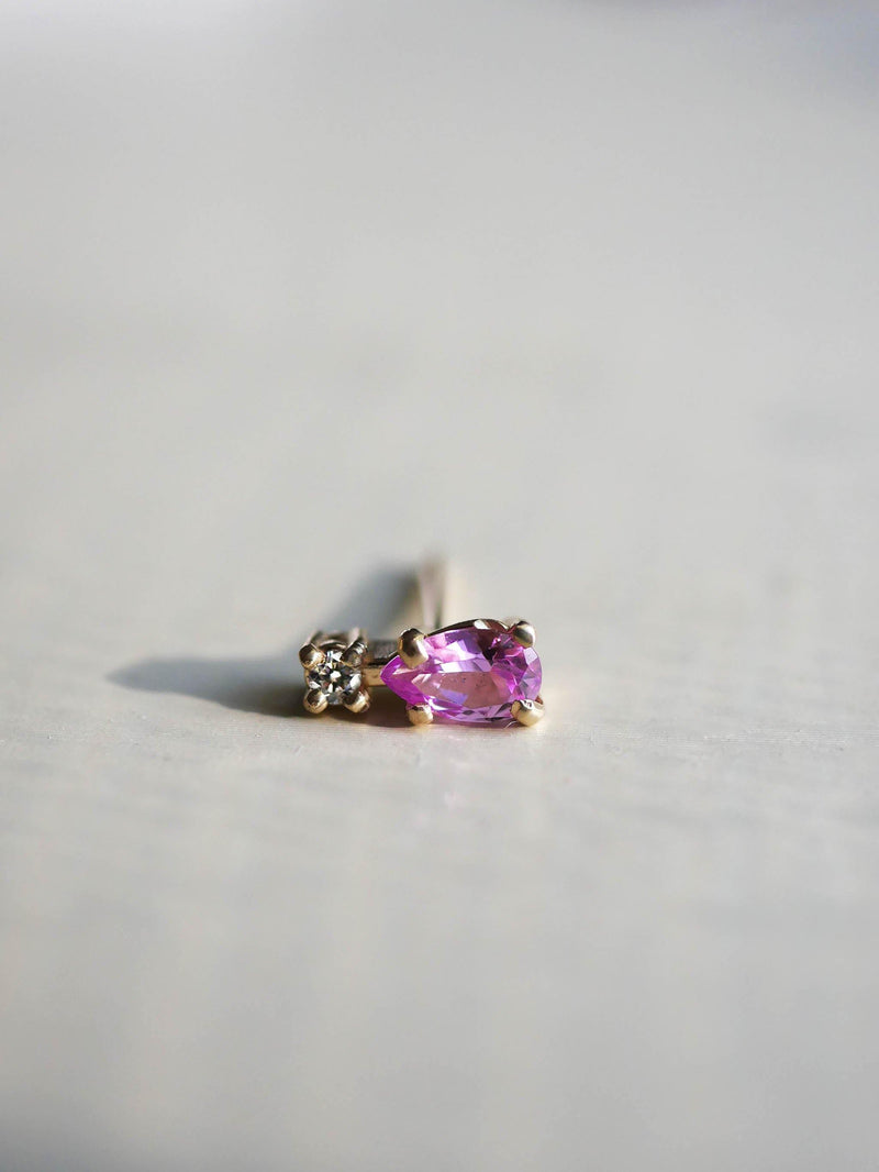 Pink Tourmaline Pear Stud - Emily Warden Designs