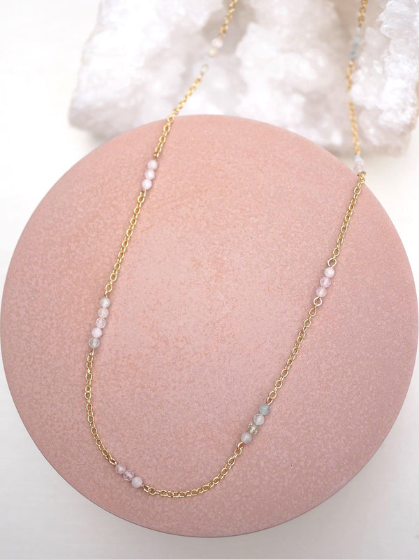 Beaded Morganite Layering Chain - Emily Warden Designs Site