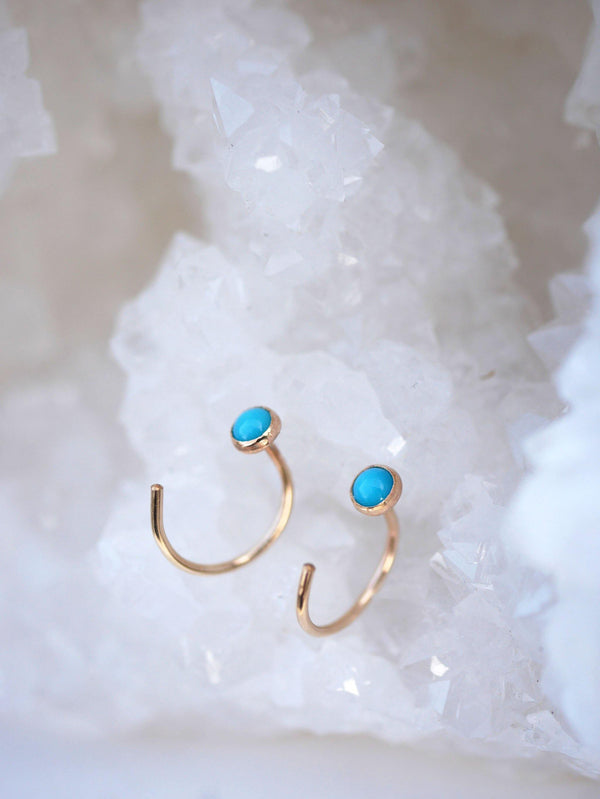 Turquoise Hugger Hoops - Emily Warden Designs Site