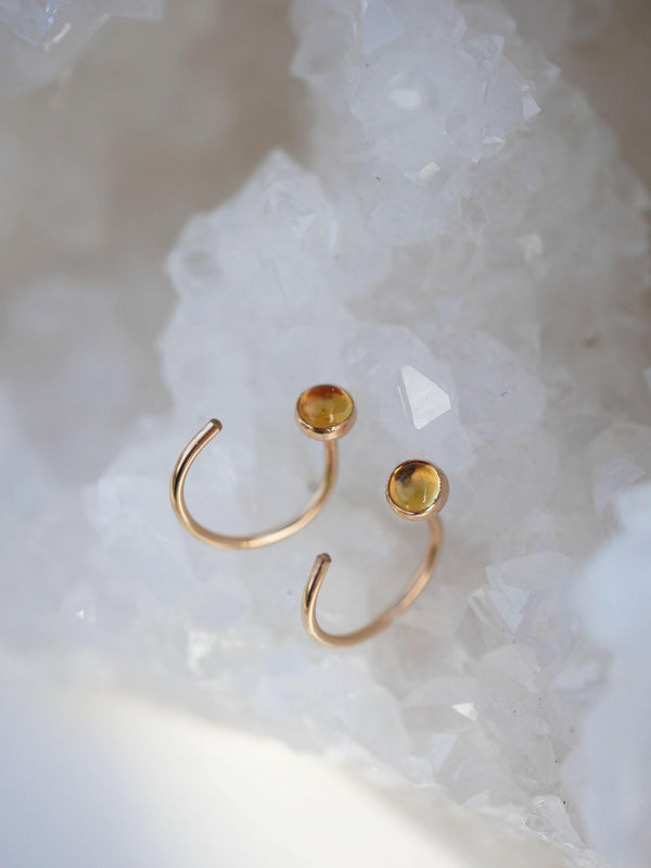 Citrine Hugger Hoops - Emily Warden Designs Site