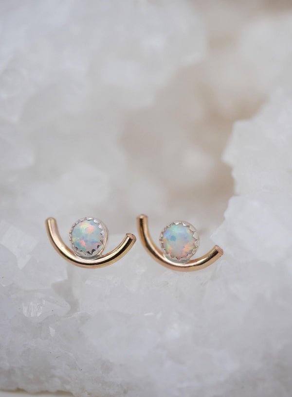 White Opal Arc Studs - Emily Warden Designs Site