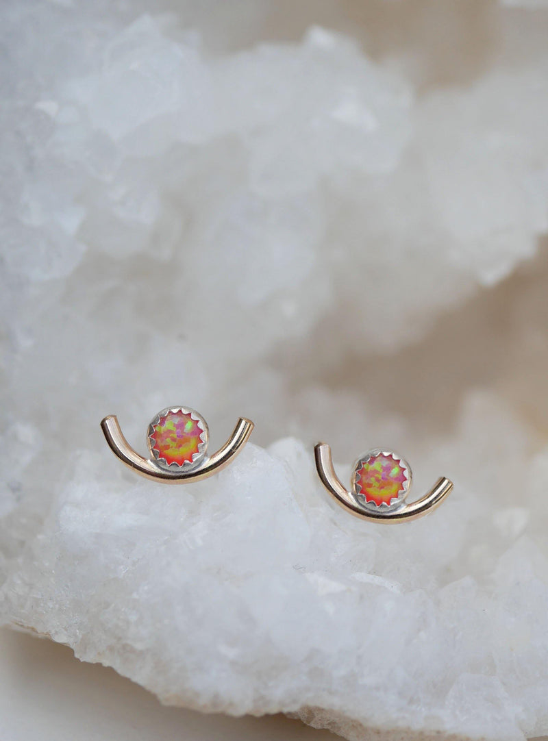 Pink Opal Arc Studs - Emily Warden Designs Site