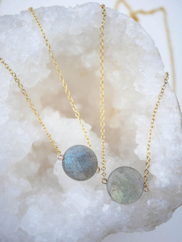 Labradorite Coin Necklace - Emily Warden Designs Site