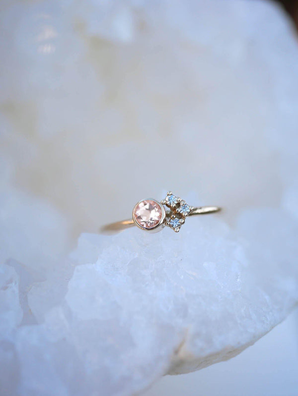 Morganite Cluster Ring - Emily Warden Designs Site