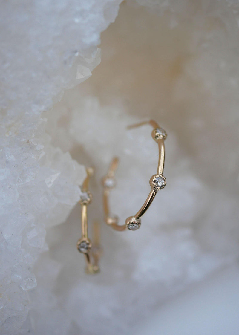 Rose Diamond Hoops - Emily Warden Designs Site
