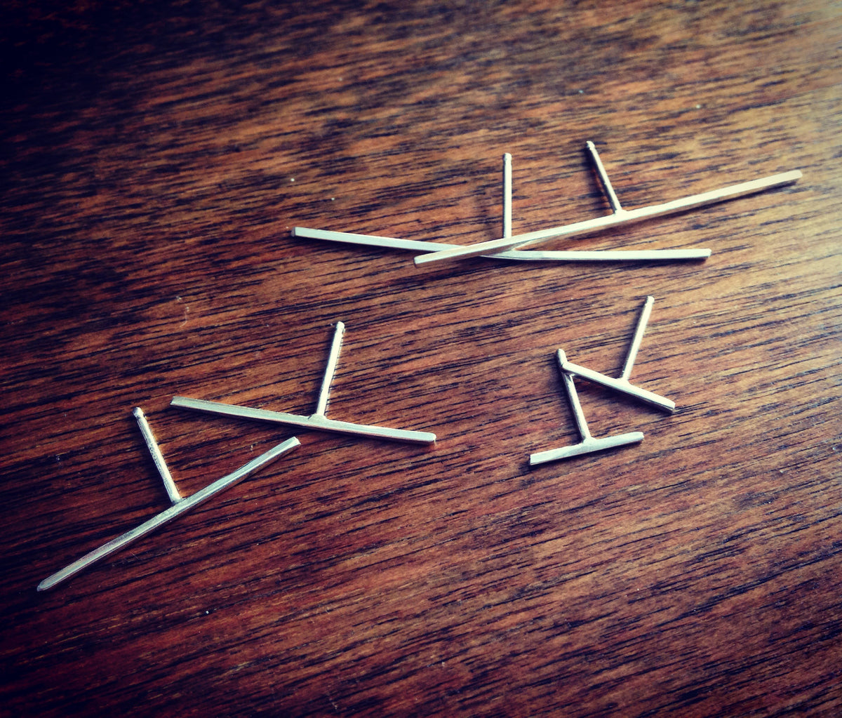 Linear Post Earring - Thin Rectangle