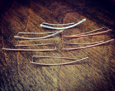 Hammered Ear Climbers - Sterling Silver, Gold Fill or Rose Gold Fill