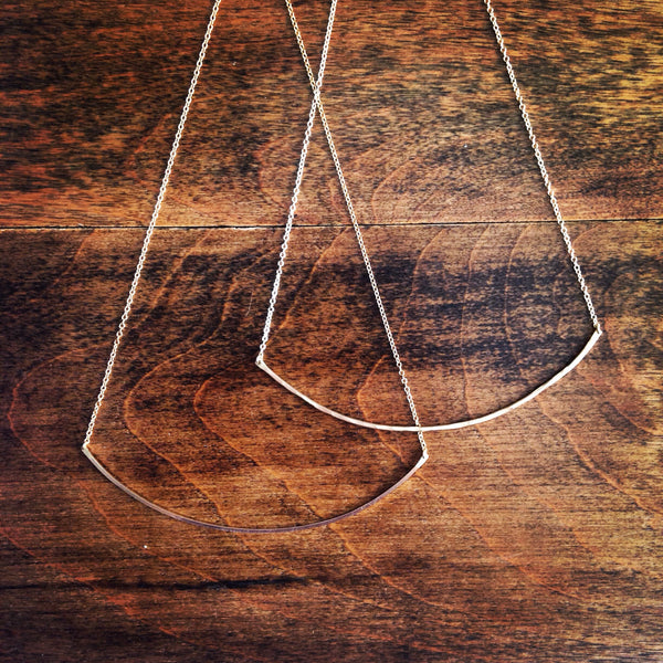 Arced Necklace In Hammered Finish - Large