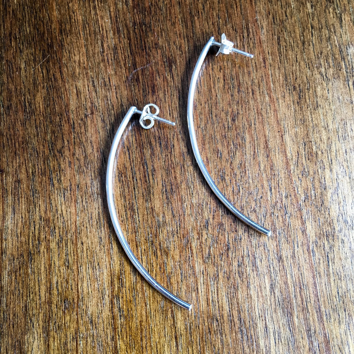 Modern Curved Posts in Sterling Silver