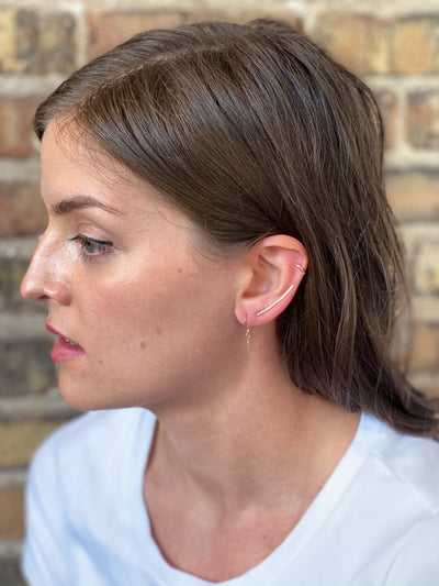 Hammered Ear Climber - Sterling Silver, Gold Fill or Rose Gold Fill