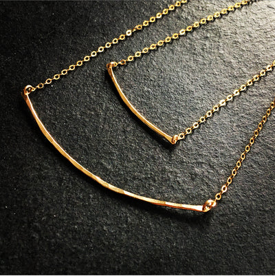 Bar Necklace - Hammered Metal