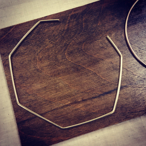Geometric Collar Necklace in Gold Fill